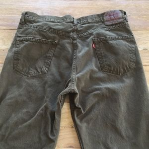 Levi's 550 Relaxed Fit Green Denim Jeans Mens 36